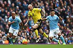 Alan Hutton of Aston Villa battles Sergio Aguero of Manchester City - Barclay's Premier League - Manchester City vs Aston Villa - Etihad Stadium - Manchester - 05/03/2016 Pic Philip Oldham/SportImage