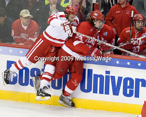 Zach Cohen (BU - 11), Justin Vaive (Miami - 22) - The Boston University Terriers defeated the Miami University RedHawks 4-3 in overtime to win the 2009 NCAA D1 National Championship at the Frozen Four on Saturday, April 11, 2009, at the Verizon Center in Washington, DC.