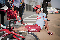 post-race fatigue by Nils Politt (DEU/Katusha-Alpecin)<br /> <br /> 103rd Ronde van Vlaanderen 2019<br /> One day race from Antwerp to Oudenaarde (BEL/270km)<br /> <br /> ©kramon