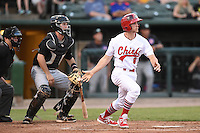 Peoria Chiefs designated hitter Steve Bean (8) at bat in front of catcher Will Remillard (20) during a game against the Kane County Cougars on June 2, 2014 at Dozer Park in Peoria, Illinois.  Peoria defeated Kane County 5-3.  (Mike Janes/Four Seam Images)