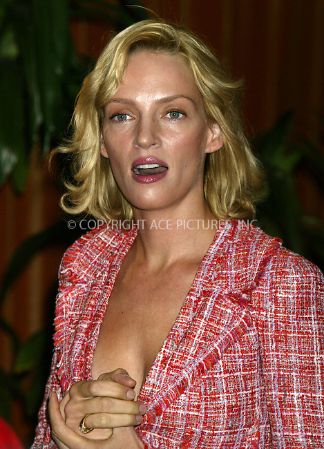 Uma Thurman at Motion Picture Club's 63rd Annual Awards in New York. October 30, 2003. Please byline: NY Photo Press.   ..*PAY-PER-USE*      ....NY Photo Press:  ..phone (646) 267-6913;   ..e-mail: info@nyphotopress.com