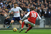 10th February 2018, Wembley Stadium, London England; EPL Premier League football, Tottenham Hotspur versus Arsenal; Kieran Trippier of Tottenham Hotspur is under pressure from Nacho Monreal of Arsenal