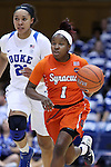 10 February 2017: Syracuse's Alexis Peterson (1). The Duke University Blue Devils hosted the Syracuse University Orange at Cameron Indoor Stadium in Durham, North Carolina in a 2016-17 Division I Women's Basketball game. Duke won the game 72-55.