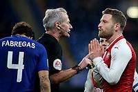 Referee, Martin Atkinson, explains his decision to Arsenal's Shkodran Mustafi during Chelsea vs Arsenal, Caraboa Cup Football at Stamford Bridge on 10th January 2018