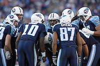 The Titans huddle around quarterback Vince Young during the second half at LP Field in Nashville, Tennessee on November 12, 2006. The Baltimore Ravens won 27-26.