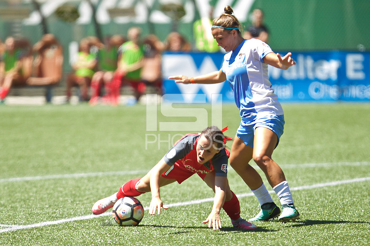Portland, OR - Saturday August 05, 2017: Hayley Raso, Amber Brooks during a regular season National Women's Soccer League (NWSL) match between the Portland Thorns FC and the Houston Dash at Providence Park.