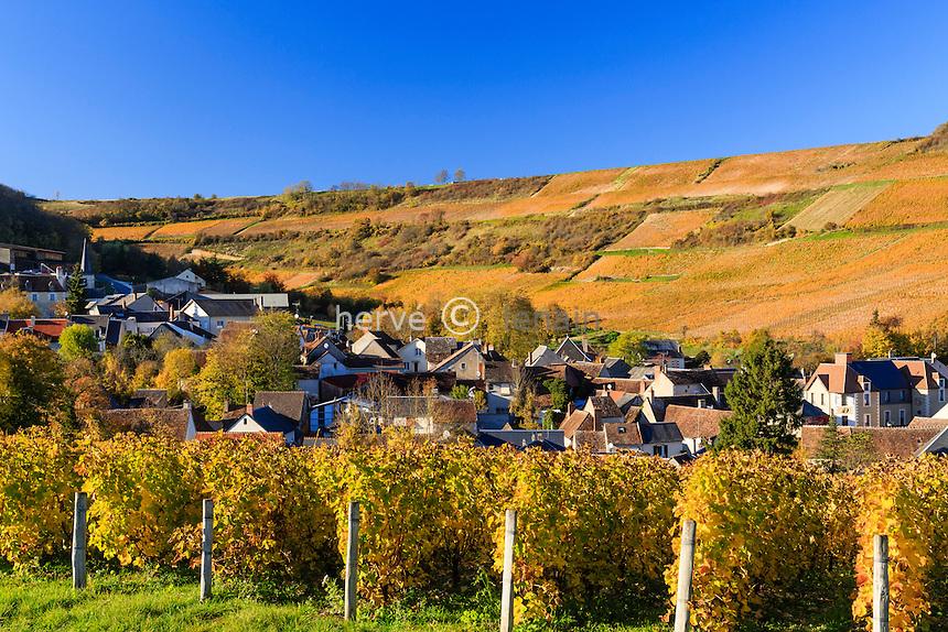 France, Cher (18), région du Sancerrois, Sancerre, village de Chavignol et son vignoble en automne