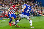 Deportivo Alaves's Raul Garcia and Atletico de Madrid's Juanfran Torres during the match of La Liga Santander between Atletico de Madrid and Deportivo Alaves at Vicente Calderon Stadium. August 21, 2016. (ALTERPHOTOS/Rodrigo Jimenez)