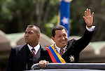 Venezuelan President Hugo Chavez arrives to a military parade in Caracas, Venezuela, on Wednesday, Jul. 05, 2006. The military parade was to celebrate the 195th anniversary of the Venezuelan Independence from Spain. (ALTERPHOTOS/Alvaro Hernandez)