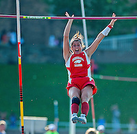 "Bohemia Manor's Brittany Wilson clears 10'3"" to win the 1A Girls Pole Vault championship at the 1A/2A Maryland State Track and Field Championships at Morgan University in Baltimore, Maryland on May 24, 2012"