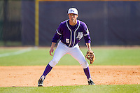 High Point Panthers third baseman Kyle Brandenburg (5) on defense against the Coastal Carolina Chanticleers at Willard Stadium on March 15, 2014 in High Point, North Carolina.  The Chanticleers defeated the Panthers 1-0 in the first game of a double-header.  (Brian Westerholt/Four Seam Images)
