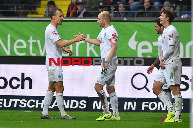 06.10.2019, Commerzbankarena, Frankfurt, GER, 1. FBL, Eintracht Frankfurt vs. SV Werder Bremen, <br /> <br /> DFL REGULATIONS PROHIBIT ANY USE OF PHOTOGRAPHS AS IMAGE SEQUENCES AND/OR QUASI-VIDEO.<br /> <br /> im Bild: Christian Groß / Gross (SV Werder Bremen #36), Davy Klaassen (SV Werder Bremen #30)<br /> <br /> Foto © nordphoto / Fabisch