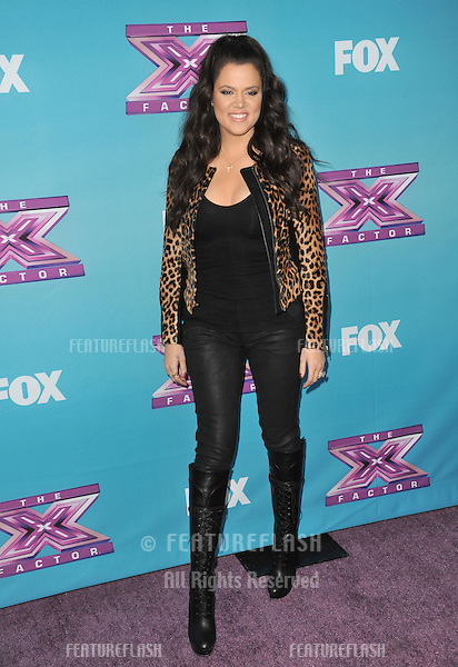"Khloe Kardashian Odom at the press conference for the season finale of Fox's ""The X Factor"" at CBS Televison City, Los Angeles..December 17, 2012  Los Angeles, CA.Picture: Paul Smith / Featureflash"