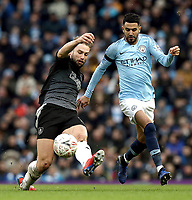 Burnley's Charlie Taylor battles with Manchester City's Riyad Mahrez<br /> <br /> Photographer Rich Linley/CameraSport<br /> <br /> Emirates FA Cup Fourth Round - Manchester City v Burnley - Saturday 26th January 2019 - The Etihad - Manchester<br />  <br /> World Copyright © 2019 CameraSport. All rights reserved. 43 Linden Ave. Countesthorpe. Leicester. England. LE8 5PG - Tel: +44 (0) 116 277 4147 - admin@camerasport.com - www.camerasport.com