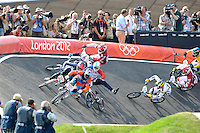 Liam Phillips (GBR) (2nd place) misses out on the crash behind him..Mens BMX.BMX Track.Olympic Park.Olympics 2012.London UK. .10/08/12,.photo: Sean Ryan / IPS Photo Agency.. mobile: 07971 400 939.Address: Thatched Cottage,Wretham,Thetford, Norfolk IP24 1RH .Office tel: 01953 499 403...
