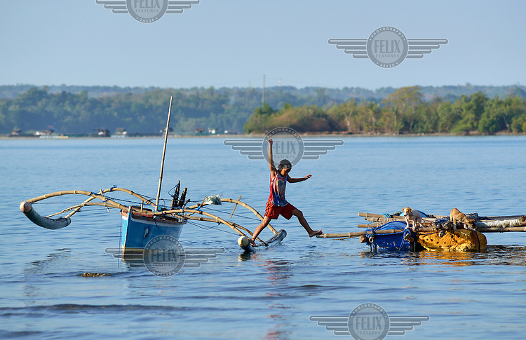 A young boy leaps from an outrigger canoe to reach his puppies tethered to a bamboo raft.