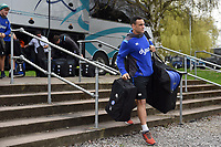 Kahn Fotuali'i and the rest of the Bath Rugby team arrive at Allianz Park. Aviva Premiership match, between Saracens and Bath Rugby on April 15, 2018 at Allianz Park in London, England. Photo by: Patrick Khachfe / Onside Images