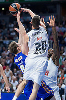 Real Madrid's Jaycee Carroll and KC Rivers and Khimki Moscow's Petteri Koponen during Euroleague match at Barclaycard Center in Madrid. April 07, 2016. (ALTERPHOTOS/Borja B.Hojas) /NortePhoto