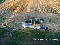 63801-08120 Corn Harvest, unloading corn into semi-truck - aerial Marion Co. IL
