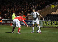 Dougie Imrie takes on Jonathon Stewart in the St Mirren v Brechin City William Hill Scottish Cup Round 4 match played at St Mirren Park, Paisley on 1.12.12.