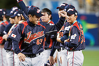 23 March 2009: Manager Tatsunori Hara of Japan celebrates after defeating Korea during the 2009 World Baseball Classic final game at Dodger Stadium in Los Angeles, California, USA. Japan defeated Korea 5-3