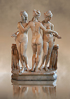 The Three Graces ( &nbsp;Les Trois Gr&acirc;ces ) A 1.19 metres high 2nd century Imperial Roman copy of a circa 330 BC Hellanistic Greek statue.  Found in the Villa Cornovaglia in Rome. Louvre Museum, Paris. Catalogue Number:&nbsp;Louvre Ma 287.<br /> The Three Graces are three nude females that in classic Hellanistic art they are depicted with two facing forward and the middle one facing away. The Three Graces, or Three Charities, of Greek mythology were Aglaia, Euphrosyne, and Thalia. They were the goddesses who symbolised joy, pleasure, grace, beauty, festivity, adornment, dance, and song. Daughters of Zeus and the sea-nymph Eurynome, they were also the attendants, or handmaidens, of Aphrodite and Hera and protectors of vegetation.