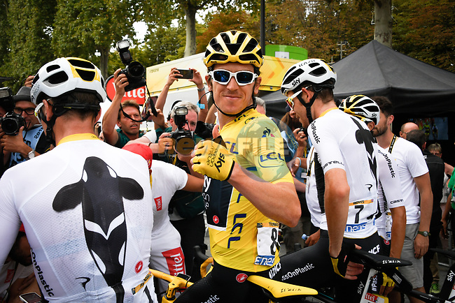 Race leader Yellow Jersey Geraint Thomas (WAL) and Team Sky overall winner at the end of Stage 21 of the 2018 Tour de France running 116km from Houilles to Paris Champs-Elysees, France. 29th July 2018. <br /> Picture: ASO/Bruno Bade | Cyclefile<br /> All photos usage must carry mandatory copyright credit (&copy; Cyclefile | ASO/Bruno Bade)