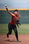 Douglas Tigers' Corry Diaz makes a play against the Galena Grizzlies in a first round game of the NIAA northern region softball tournament in Reno, Nev., on Thursday, May 15, 2014. Galena won 5-4.<br /> Photo by Cathleen Allison