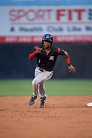 Richmond Flying Squirrels Jalen Miller (1) running the bases during an Eastern League game against the Bowie Baysox on August 15, 2019 at Prince George's Stadium in Bowie, Maryland.  Bowie defeated Richmond 4-3.  (Mike Janes/Four Seam Images)