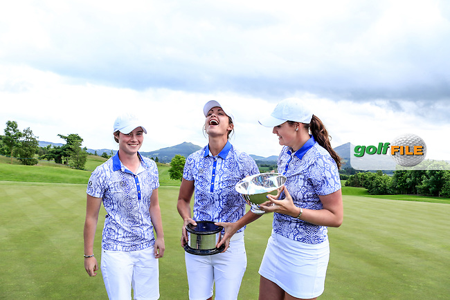 Leona Maguire, Maria Dunne and Olivia Mehaffey with the Curtis Cup after the Sunday Singles matches at the 2016 Curtis Cup from Dun Laoghaire Golf Club, Ballyman Rd, Enniskerry, Co. Wicklow, Ireland. 12/06/2016.<br /> Picture Fran Caffrey / Golffile.ie<br /> <br /> All photo usage must carry mandatory copyright credit (&copy; Golffile | Fran Caffrey)