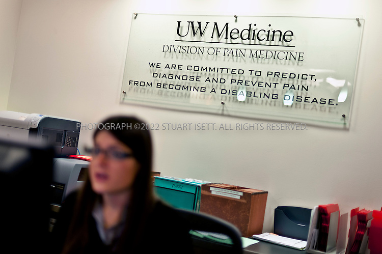 1/25/2012--Seattle, WA, USA..Anna Grance greets patients at the front desk of University of Washington's Division of Pain Medicine in Seattle, WASH...©2012 Stuart Isett. All rights reserved.