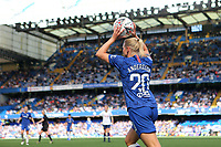 Jonna Andersson of Chelsea Women takes a throw in at Stamford Bridge in front of a crowd in the region of 25,000 during Chelsea Women vs Tottenham Hotspur Women, Barclays FA Women's Super League Football at Stamford Bridge on 8th September 2019