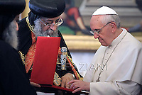 Pope Francis and the Coptic Orthodox leader Tawadros II  during a private audience in the pontiff's library on May 10, 2013