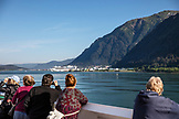 ALASKA, Juneau, views from on board the Holland America Cruise Ship, the Oosterdam, as it arrives into port in Juneau
