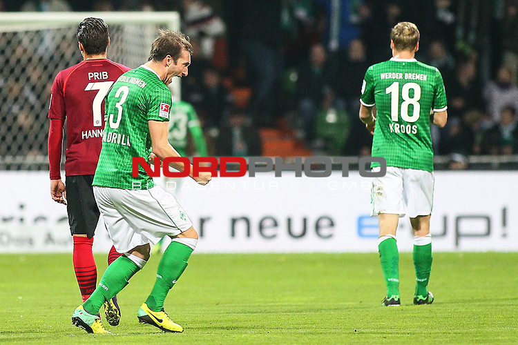 03.11.2013, WeserStadion, Bremen, GER, 1.FBL, Werder Bremen vs Hannover 96, im Bild Luca Caldirola (Werder Bremen #3) jubelt <br /> // during the match from GER, 1.FBL,Werder Bremen vs Hannover 96 on 2013/11/03, Weser-Stadion, Bremen, Germany.<br /> Foto &copy; nph / Schrader