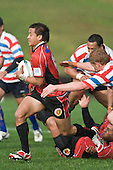 Tim Nanai-Williams breaks through the Tasman midfield defence. Air New Zealand Air NZ Cup warm-up rugby game between the Counties Manukau Steelers & Tasman Mako's, played at Growers Stadium Pukekohe on Sunday July 20th 2008..Counties Manukau won the match 30 - 7.
