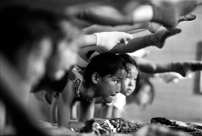A class of young contortionists in training in the Ulan Bator Circus.