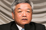 President and CEO Naotoshi Okada from the Japanese news organization Nikkei Inc. speaks during a press conference about the acquisition of the British newspaper Financial Times Group on July 24, 2015, Tokyo, Japan. Nikkei's Chairman Tsuneo Kita has promised to respect the Financial Times' editorial independence after agreeing to acquire all shares in Financial Times Group for 844 million pounds (about $1.3 billion) from U.K. education company Pearson. (Photo by Rodrigo Reyes Marin/AFLO)