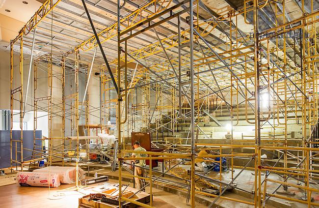 Jun. 30, 2014; Renovation work in Jordan Auditorium, Mendoza College of Business.<br /> <br /> Photo by Matt Cashore/University of Notre Dame