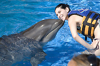 A woman getting a kiss from a dolphin at Sea Life Park as part of the Dolphin Adventure program