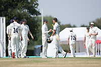 Nick Gubbins and Joe Weatherley fist bump at the conclusion of the fixture during Middlesex CCC vs Hampshire CCC, Bob Willis Trophy Cricket at Radlett Cricket Club on 11th August 2020