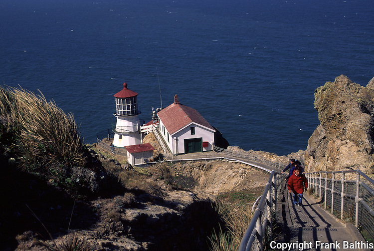Visitors climbing stairs at Point Reys Lighthouse