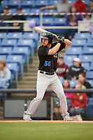 Akron RubberDucks right fielder Mike Papi (38) at bat during a game against the Binghamton Rumble Ponies on May 12, 2017 at NYSEG Stadium in Binghamton, New York.  Akron defeated Binghamton 5-1.  (Mike Janes/Four Seam Images)