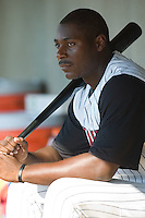Chris Carter (33) watches the action from the dugout versus Columbus at Fieldcrest Cannon Stadium in Kannapolis, NC, Sunday, July 22, 2007.