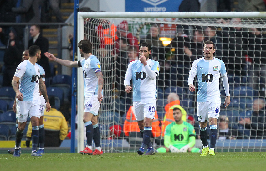 Blackburn Rovers look dejected<br /> <br /> Photographer Mick Walker/CameraSport<br /> <br /> The EFL Sky Bet Championship - Blackburn Rovers v Bristol City - Saturday 9th February 2019 - Ewood Park - Blackburn<br /> <br /> World Copyright © 2019 CameraSport. All rights reserved. 43 Linden Ave. Countesthorpe. Leicester. England. LE8 5PG - Tel: +44 (0) 116 277 4147 - admin@camerasport.com - www.camerasport.com