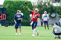 August 2, 2017: New England Patriots quarterback Jimmy Garoppolo (10) throws a pass at the New England Patriots training camp held at Gillette Stadium, in Foxborough, Massachusetts. Eric Canha/CSM