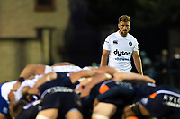 Rhys Priestland of Bath Rugby watches a scrum. Pre-season friendly match, between Edinburgh Rugby and Bath Rugby on August 17, 2018 at Meggetland Sports Complex in Edinburgh, Scotland. Photo by: Patrick Khachfe / Onside Images