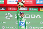 Alejandro Valverde (ESP) Movistar Team retakes the Green Jersey at the end of at the end of Stage 11 of the La Vuelta 2018, running 207.8km from Mombuey to Ribeira Sacra. Luintra, Spain. 5th September 2018.<br /> Picture: Unipublic/Photogomezsport | Cyclefile<br /> <br /> <br /> All photos usage must carry mandatory copyright credit (&copy; Cyclefile | Unipublic/Photogomezsport)