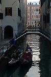 Gondolas on Canal in Venice, Italy.