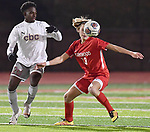 CBC forward Justin Tabb (left) and Kirkwood defender Jakob Limpert battle for a ball in the air. CBC played Kirkwood in a Class 4 sectional soccer game at Kirkwood High School in Kirkwood on Thursday November 14, 2019.<br /> Tim Vizer/Special to STLhighschoolsports.com